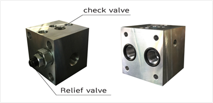 Block for relief and check valve